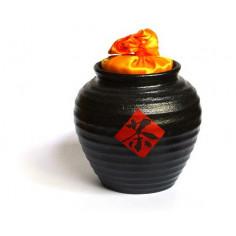 Черная чайница Сян Тао с оранжевой крышкой