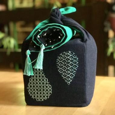 """Travel tea-set """"Дождь"""" в стиле sashiko&boro"""
