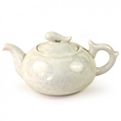 Белый чайник с разводами глазурью, 200 мл