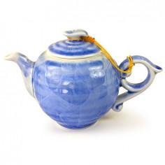 Голубой чайник с разводами глазурью, 200 мл