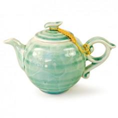 Зеленый чайник с разводами глазурью, 200 мл