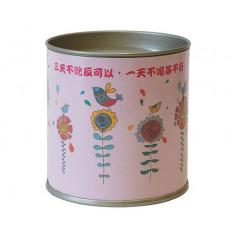 Розовая картонная банка для хранения чая