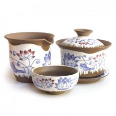 Глиняный чайный набор «Лотос» в подарочной коробке
