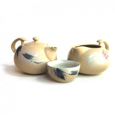 Бежевый чайный набор с веткой бамбука в подарочной коробке