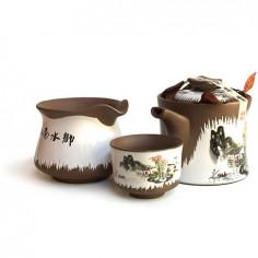 Глиняный набор для чаепитий «Пейзаж» в подарочной коробке