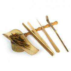 Набор чайных инструментов из пятнистого бамбука