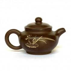 Чайник из исинской глиный под старину с изображением цветка