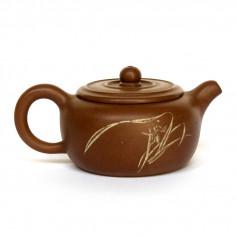 Чайник из исинской глины в форме бочонка с изображением дикой орхидеи