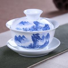 Бело-синяя гайвань с пейзажем (3,5 цуня)