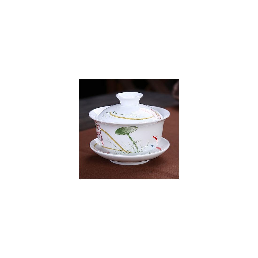 Белая гайвань с лотосом (3,8 цуня)