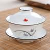 Белая керамическая гайвань с бабочкой и орхидеей