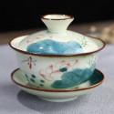 Разноцветная гайвань с лотосом и синим листом_3859