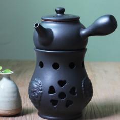 """Черный керамический чайник """"Лев"""" для варки пуэра"""