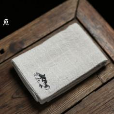 Льняное чайное полотенце с рыбой