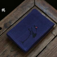 Льняное чайное полотенце с журавлем