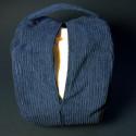 Синяя подушка из вельвета_4108