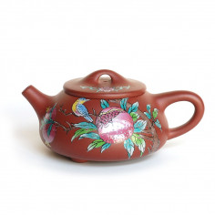 Чайник из исинской глины с рисунком эмалью
