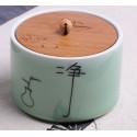 Очищение, селадоновая чайница с бамбуковой крышкой_4794