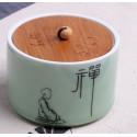 Созерцание, селадоновая чайница с бамбуковой крышкой_4795