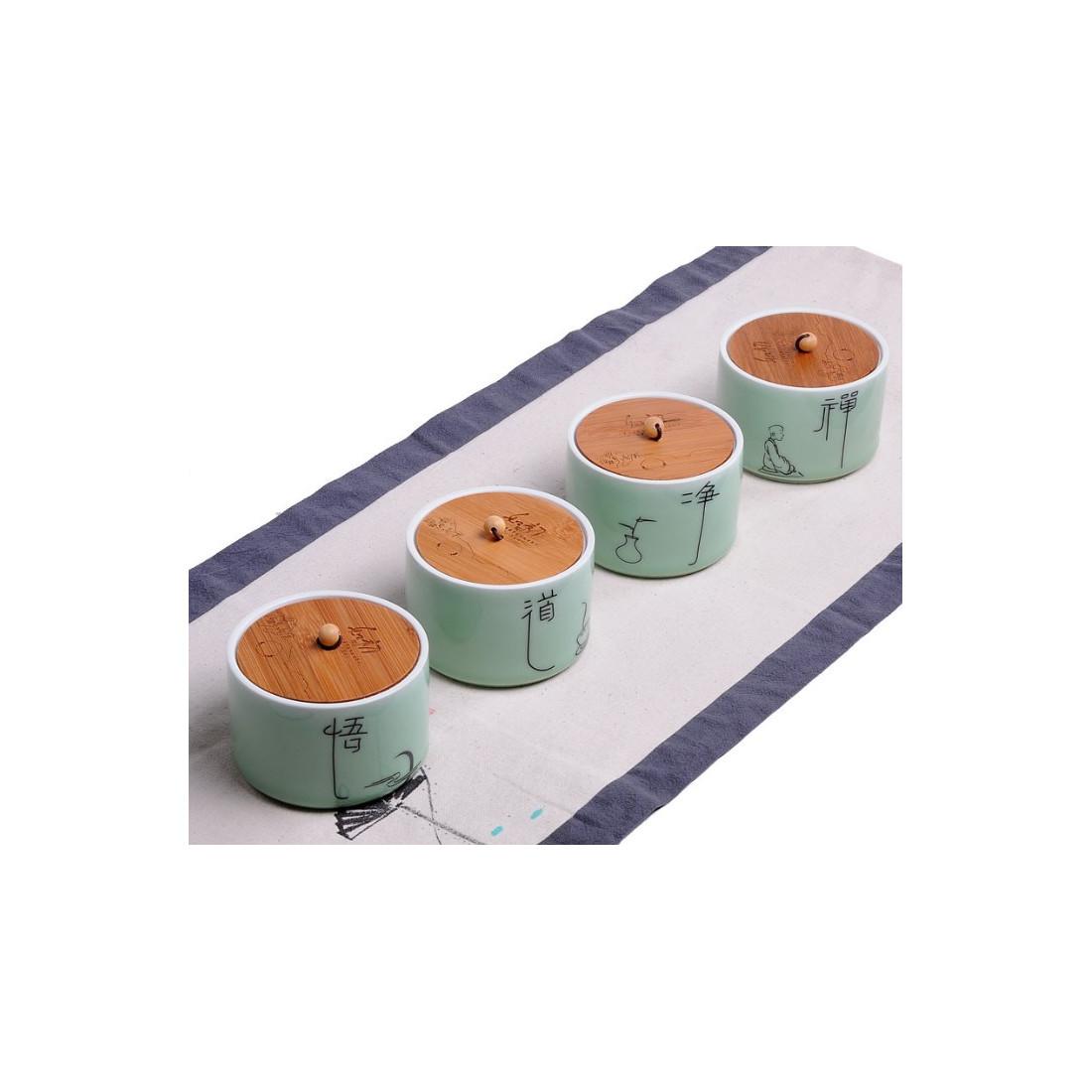 Селадоновая чайница с бамбуковой крышкой