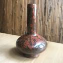 Высокая маленькая вазочка с красной глазурью_5164