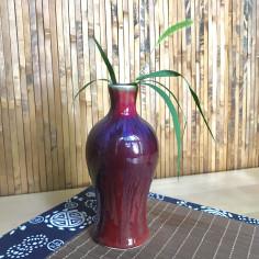 Высокая маленькая вазочка с малиновой глазурью (2)