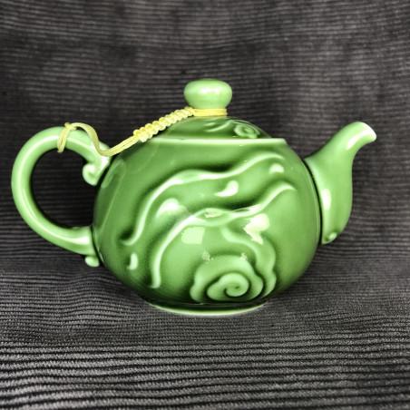 Зелёный круглый чайник «Облака»