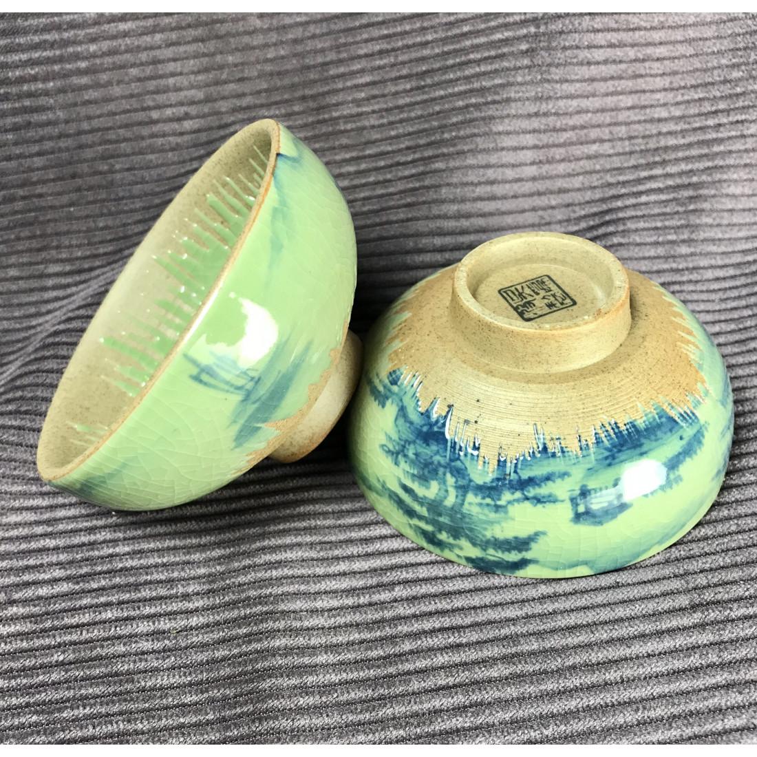 Чаша с частичным покрытием селадоном «Пейзаж»