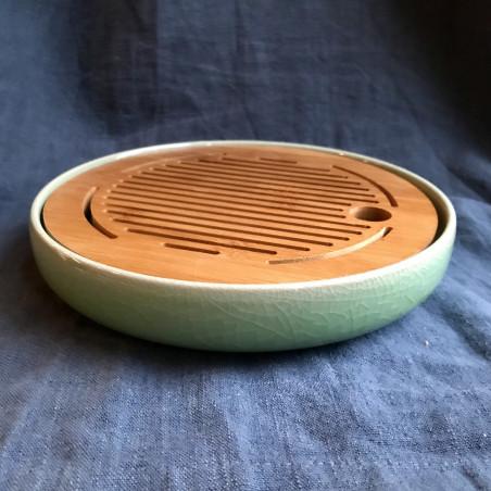 Маленькая круглая чабань с зеленой селадоновой керамической основой