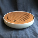Маленькая круглая чабань с голубой селадоновой керамической основой_7170