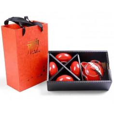 Красный чайник-гайвань и 4 чаши в подарочной коробке