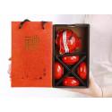 Красный чайник-гайвань и 4 чаши в подарочной коробке_7405