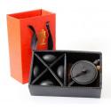 Черный чайник и 4 чаши в подарочной коробке_7421