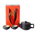 Черный чайник и 4 чаши в подарочной коробке_7422
