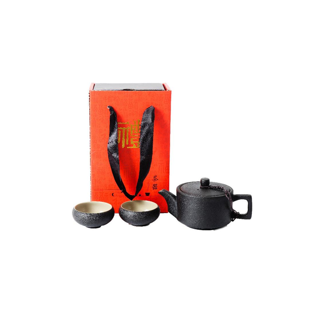 Черный чайник и 4 чаши в подарочной коробке