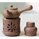 Бежевый керамический чайник с ажурной резьбой для варки пуэра_7498