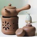Бежевый керамический чайник с ажурной резьбой для варки пуэра_7504