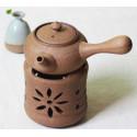 Бежевый керамический чайник с ажурной резьбой для варки пуэра_7505