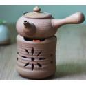 Бежевый керамический чайник с ажурной резьбой для варки пуэра_7506