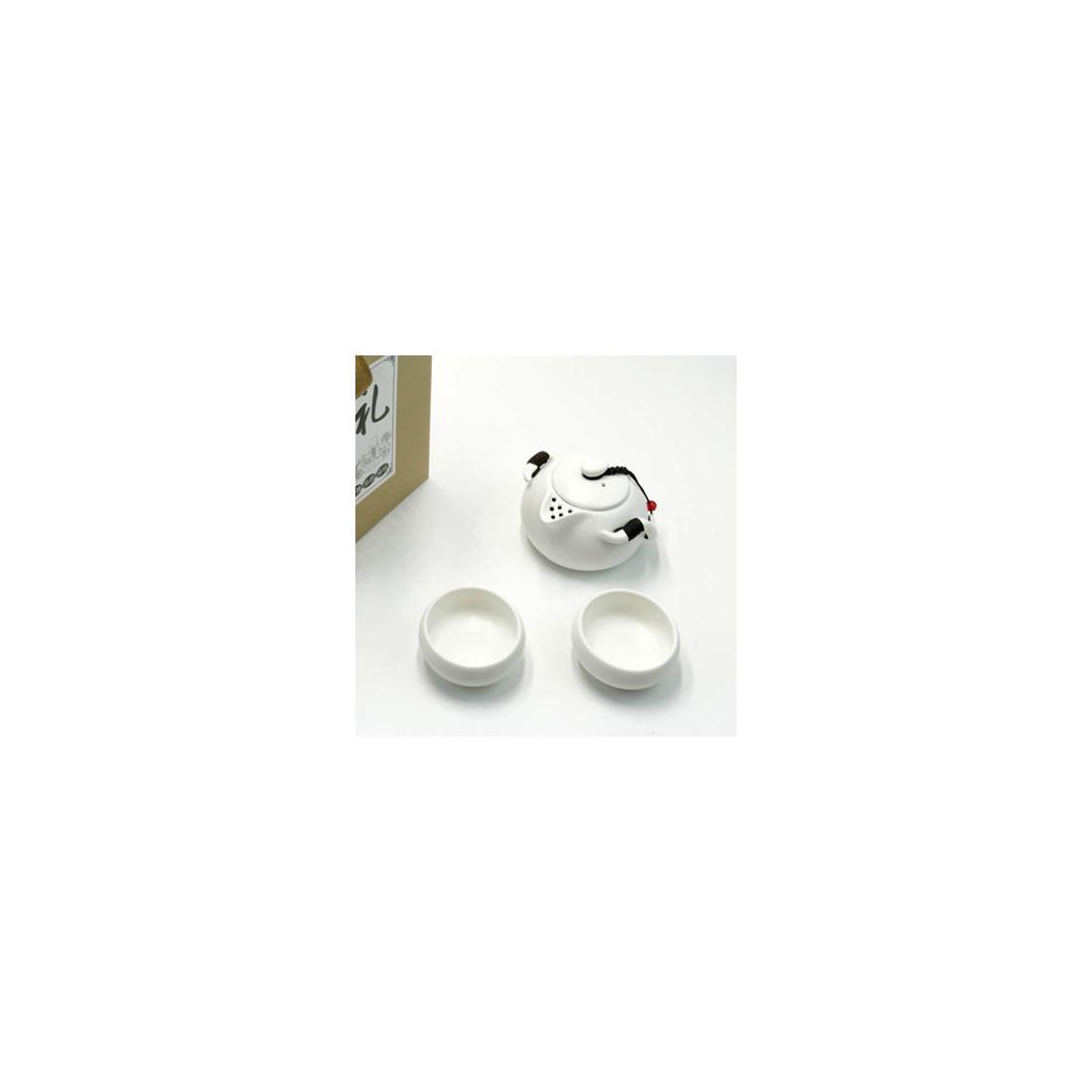 Белый чайник-гайвань и 4 чаши в подарочной коробке
