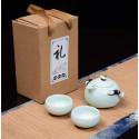 Нежно-зеленый чайник-гайвань и 2 чаши в подарочной коробке_7756