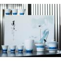 Волнение голубого моря — набор из цзиндэчженьского фарфора_7760