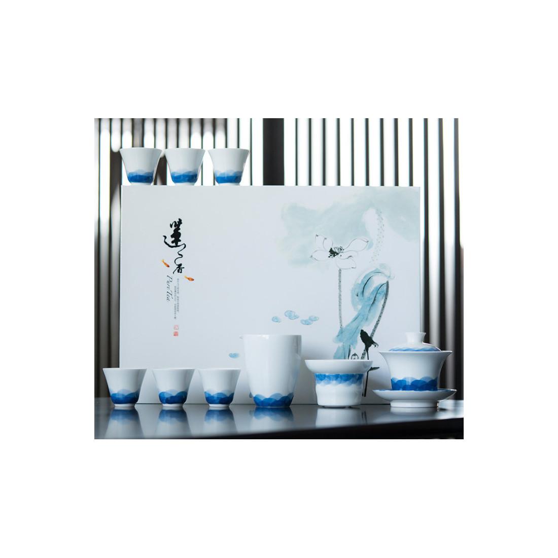 Волнение голубого моря — набор из цзиндэчженьского фарфора
