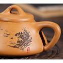 «Каменный черпак» с пейзажем — чайник из исинской глины_8011