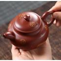 Чайник под старину с золотым рисунком — чайник из исинской глины_8077
