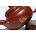 Чайник под старину с золотым рисунком — чайник из исинской глины_8080
