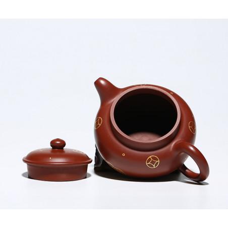 Чайник под старину с золотым рисунком — чайник из исинской глины