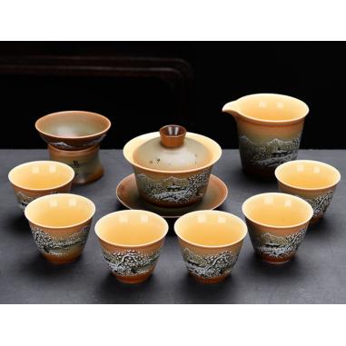 Благодатный снег - набор керамической посуды в подарочной коробке