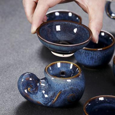 Голубая заячья шерсть - керамическое сито с подставкой