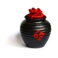 Черная чайница Сян Тао с красной крышкой